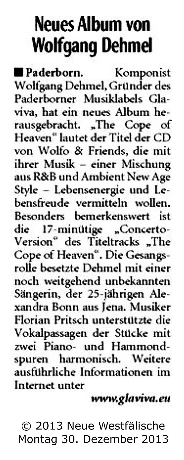 GLAVIVA Sounddesign � WOLFO - The Cope Of Heaven � NW - Pressebericht 30-12-2013